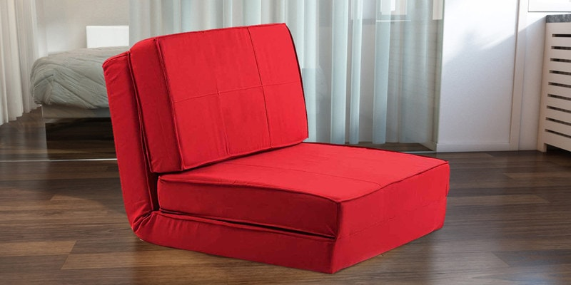 Isten Single Seater Sofa cum Bed in Red Colour by Camabeds