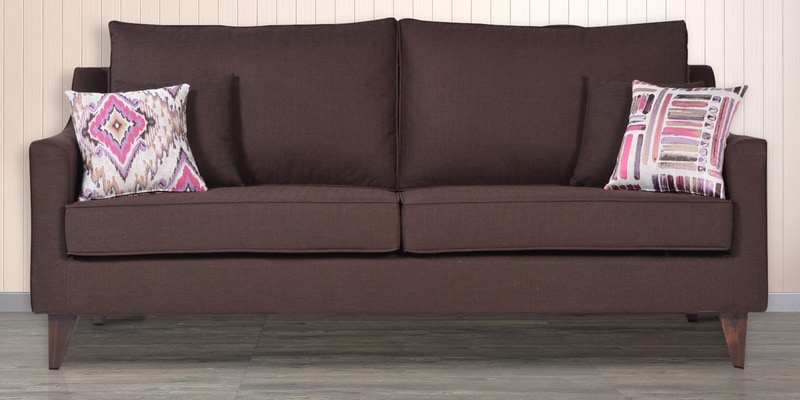 Ithaca Impulse Three Seater Sofa with Throw Cushions in Chestnut Brown Colour by Urban Living