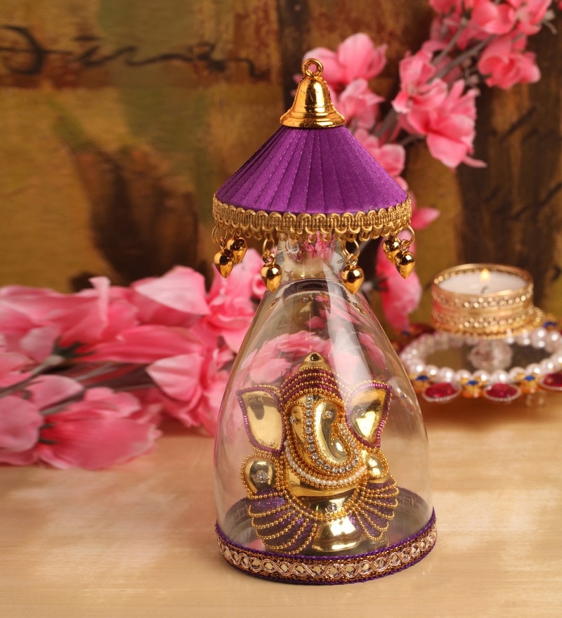 Itiha Purple Umbrella Ganesha Showpiece Figurine