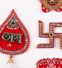 Multicolour Acrylic Shubh Labh, Lakshmi Feet & Swastik Set for Door by Itiha
