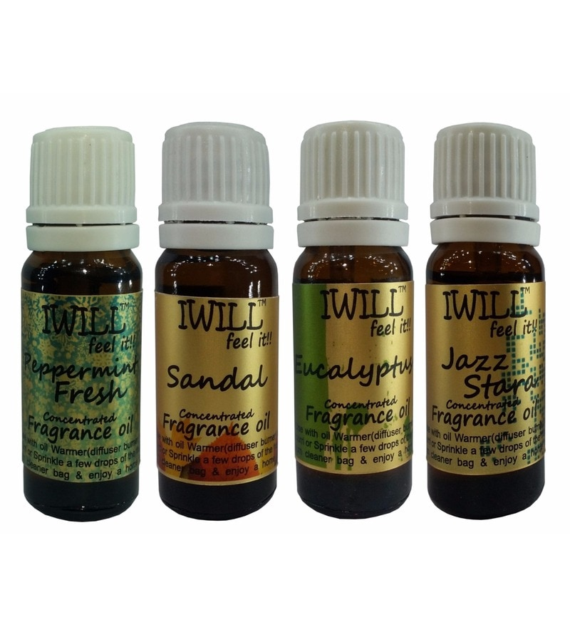 Peppermint Fresh, Sandal, Eucalyptus & Jazz Stara Concentrated Fragrance Oil - Set of 4 by iwill