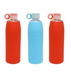 Izizi Blue & Red 1 Litre Glass Water Bottles With Silicone Sleeve - Set Of 3