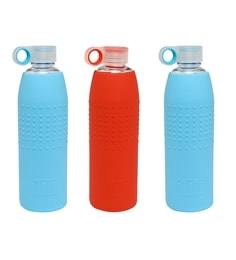 Izizi Blue & Red Glass 1 Litre Water Bottles With Silicone Sleeve - Set Of 3