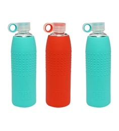 Izizi Red & Green Glass Water Bottles With Silicone Sleeve - Set Of 3