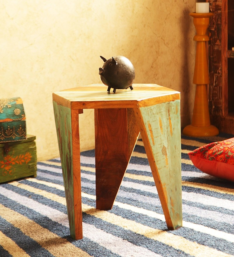 Arika Stool in Distress Finish by Bohemiana