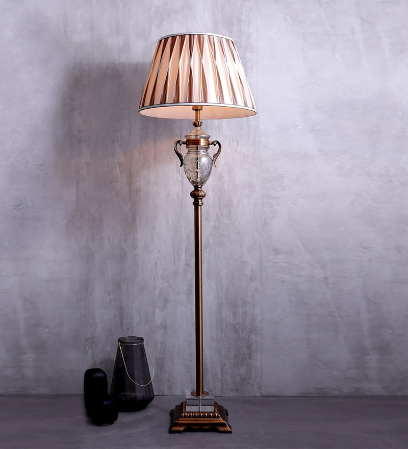 Beige Fabric Floor Lamp by Jainsons Emporio