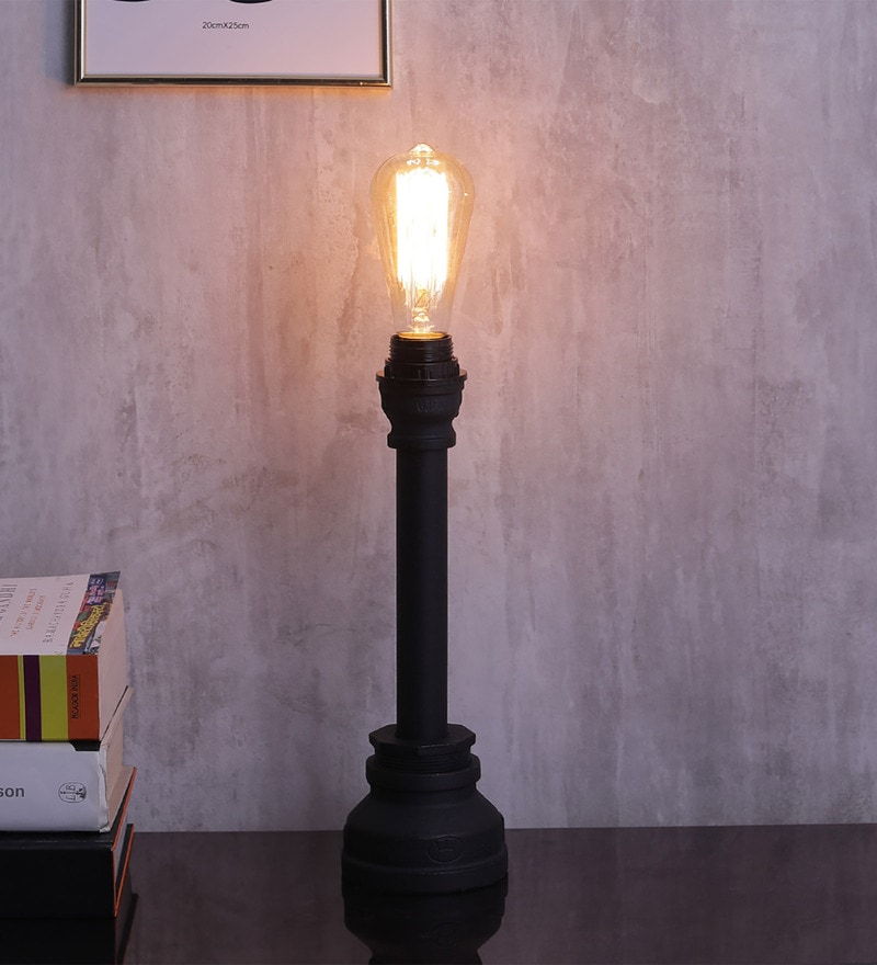 Black Aluminium Table Lamp by Jainsons Emporio