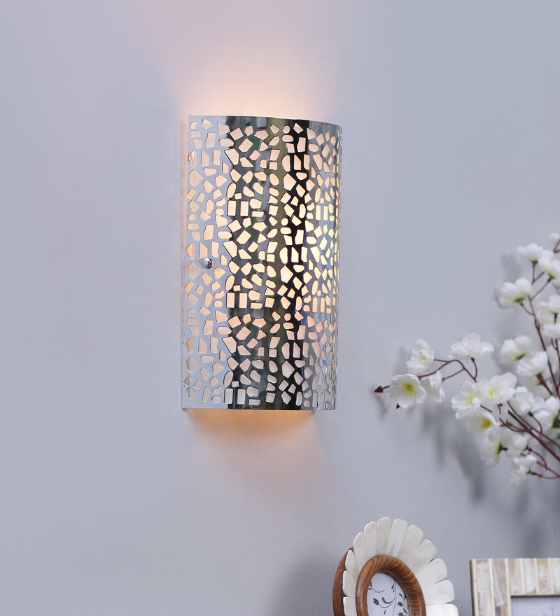 Laser Cut Pattern Silver Metal Wall Light by Jainsons Emporio