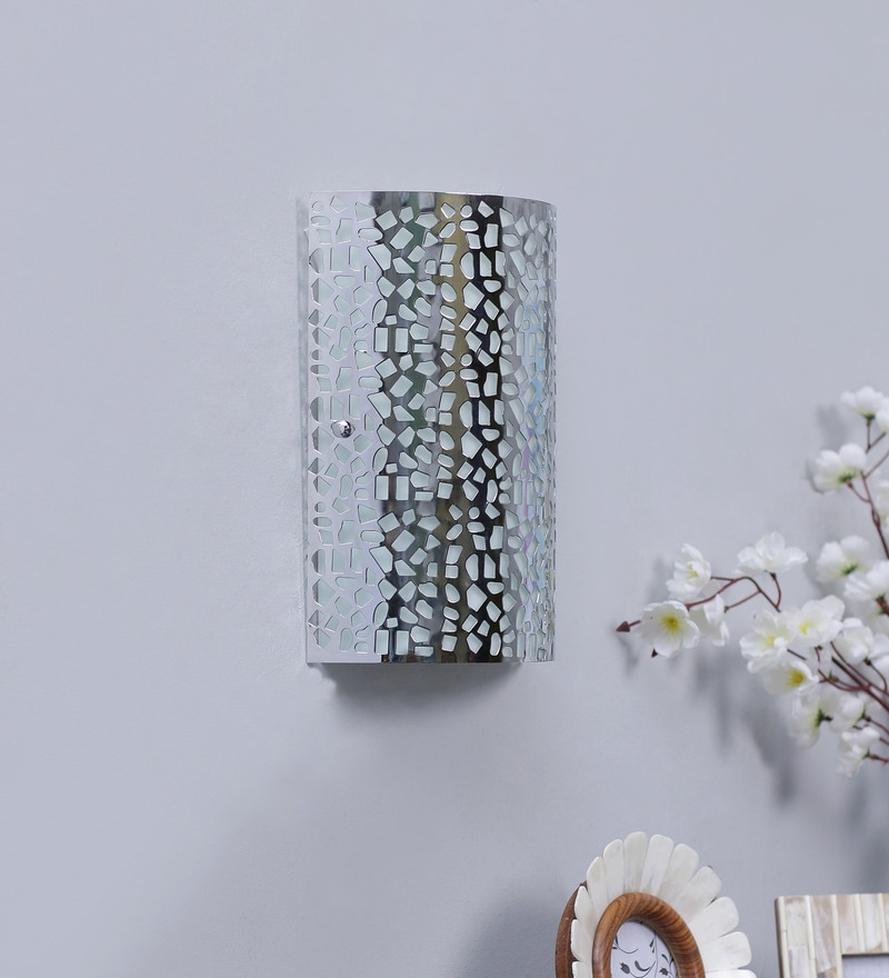Buy Laser Cut Pattern Silver Metal Wall Light By Jainsons Emporio Online Two Way Wall Lights