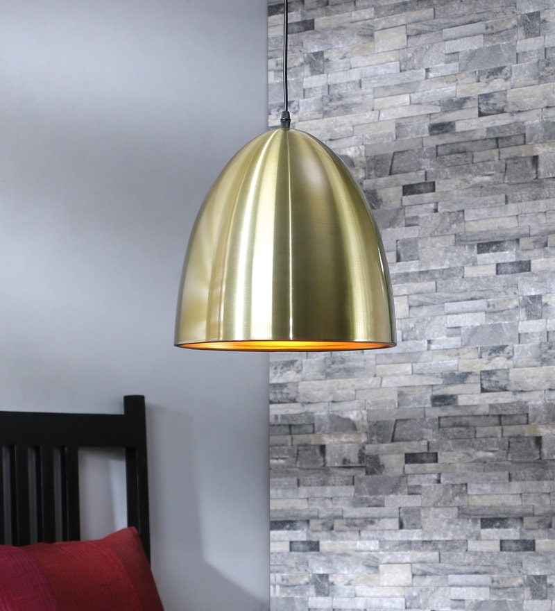 Sylvia Bell Golden Metal Pendant Lamp by Jainsons Emporio