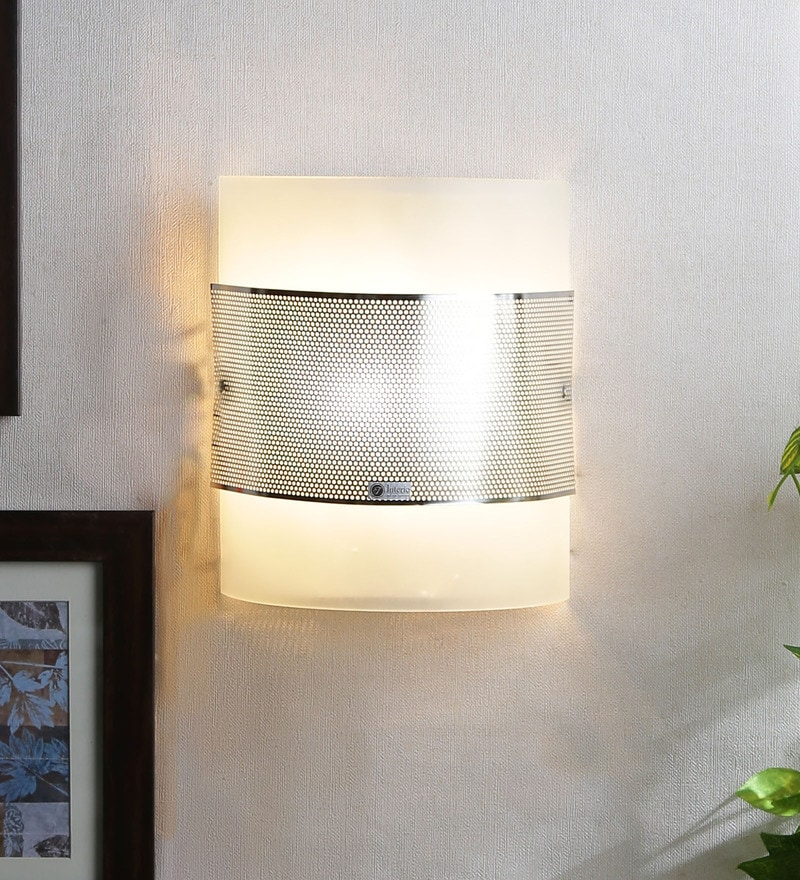 White Glass Wall Mounted Light by Jainsons Emporio