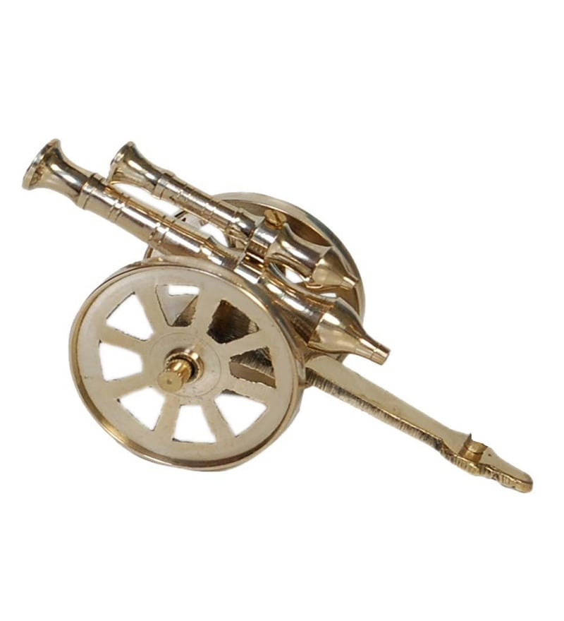 Gold Brass Royal Rajasthan Rajputana Cannon Showpiece by JaipurCrafts