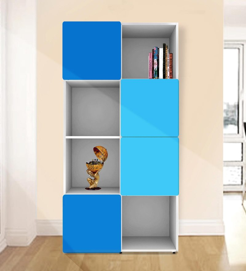 Jasper Display Unit cum Book Shelf in Light & Dark Blue with White Colour by UNiCOS