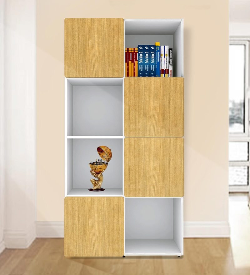 Jasper Display Unit cum Book Shelf in Urban Teak & White Colour by UNiCOS