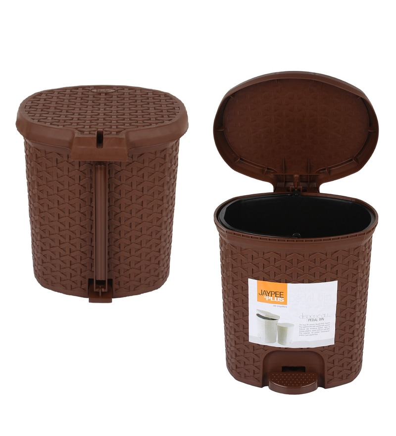 Jaypee Plus Brown 5 L Small Pedal Waste Bin - Set of 2