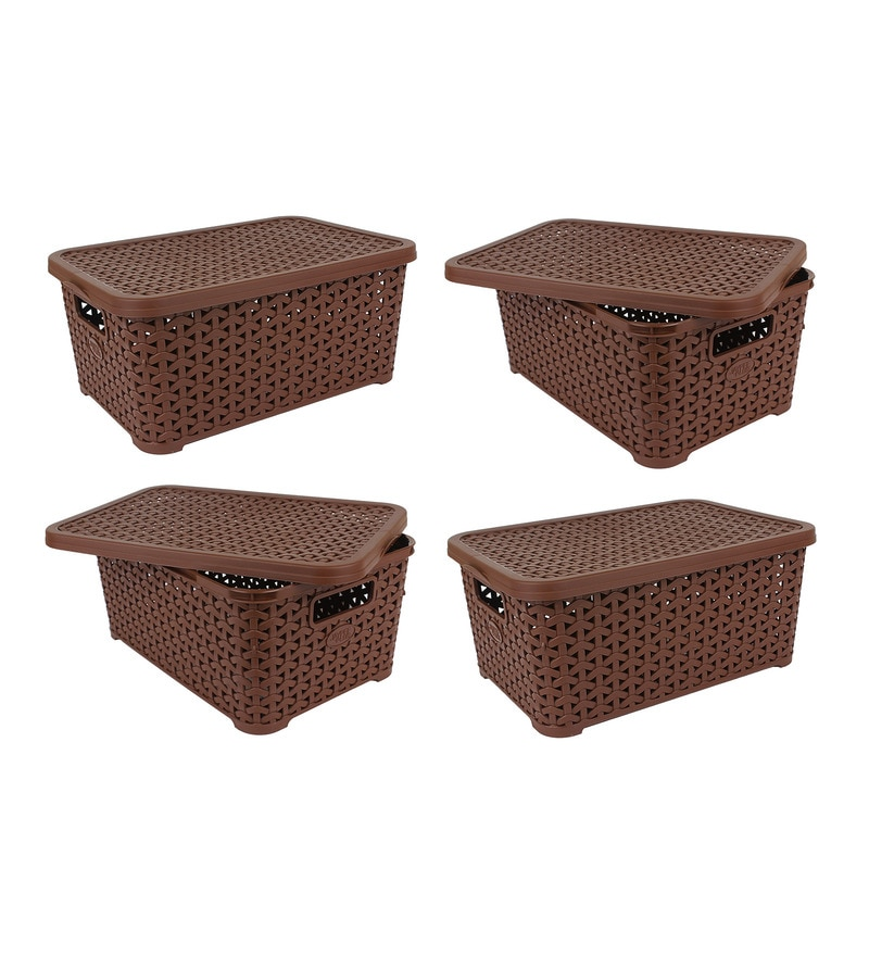 Jaypee PPR Plastic Brown Basket with Lid 5 L- Set of 4