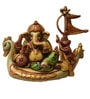 JaipurCrafts Lord Ganesha Sitting on Swan Multicolor Stoneware Showpiece