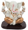 JaipurCrafts White & Golden Polyresin Adorable Lord Ganesha Statue