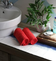 JBG Home Store Red 100% Cotton 16 X 24 Inch Hand Towel - Set Of 2
