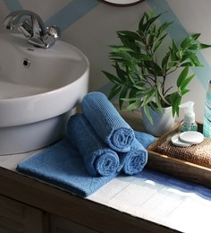 JBG Home Store Sky Blue 100% Cotton 16 X 24 Inch Hand Towel - Set Of 4
