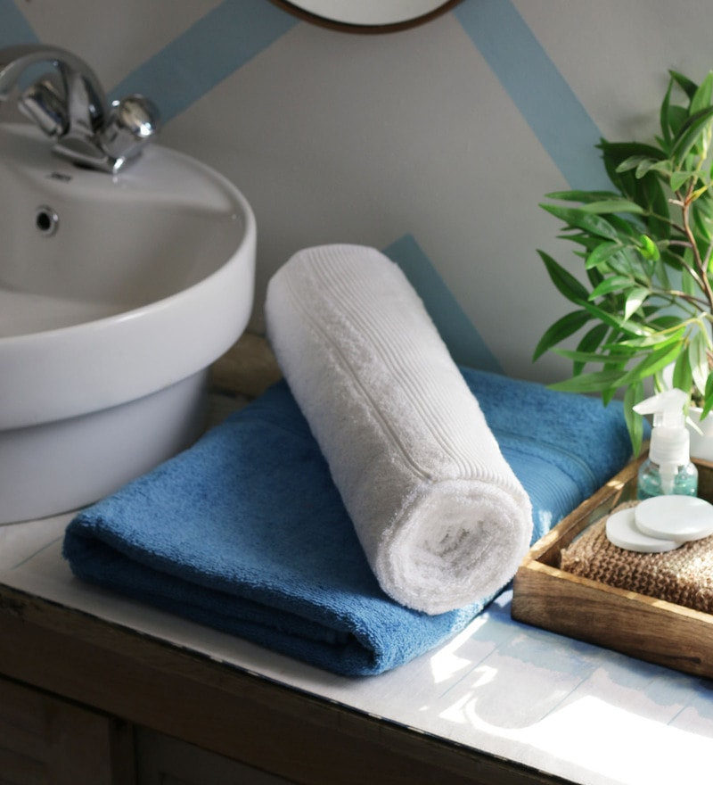 JBG Home Store Sky Blue & White 100% Cotton 30 x 60 Inch Bath Towel - Set of 2