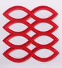 Jilda Red Plexi Glass Designer Screen Dividers - Set of 10