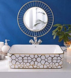 JJ Sanitaryware Ceramic Golden Bathroom Wash Basin - 1675012