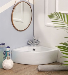 JJ Sanitaryware Ceramic White Bathroom Wash Basin - 1675009