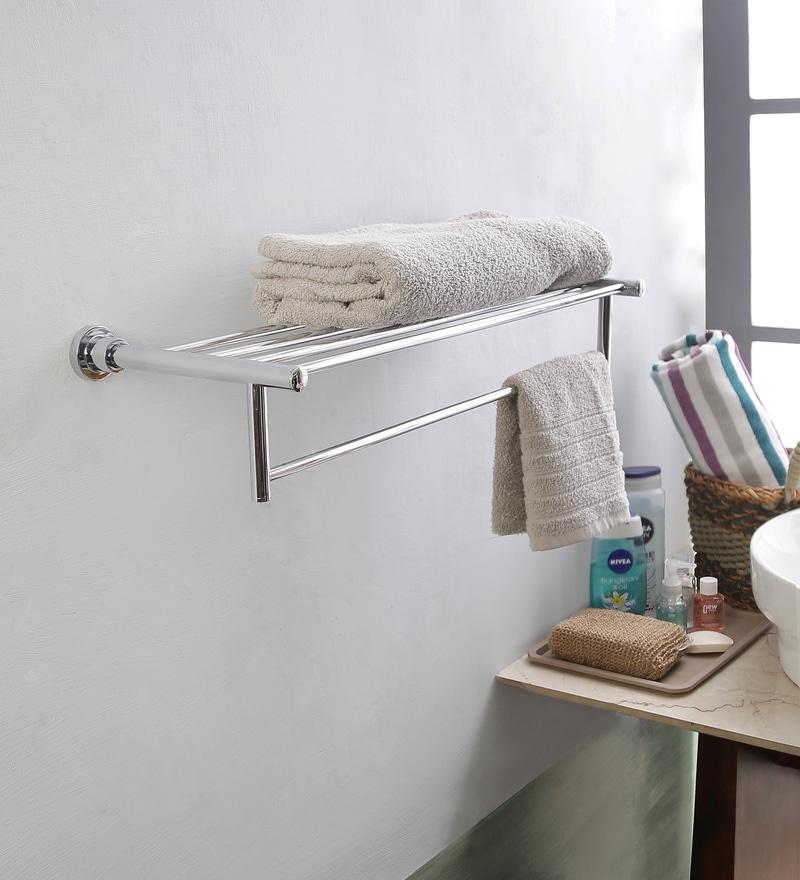 JJ Sanitaryware 1521 Silver Brass 24.5 x 5 x 9 Inch Towel Rack