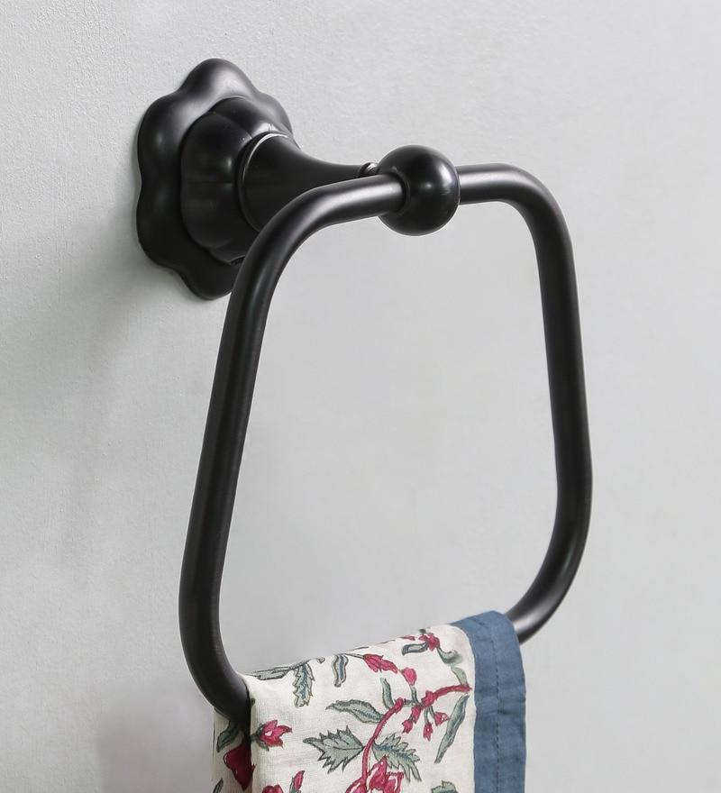 JJ Sanitaryware Metallic Brass Black Towel Ring (Model No: 1905)