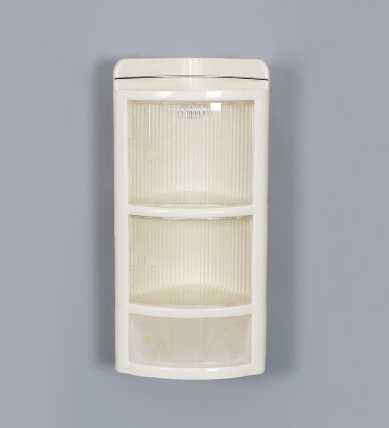 Buy Ivory Plastic Three Shelves Corner Bathroom Cabinet