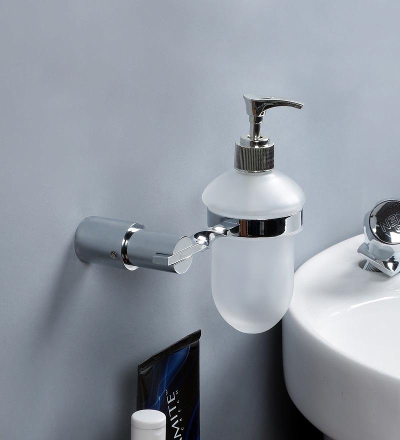 JJ Sanitaryware Silver Brass Soap Dispenser Holder