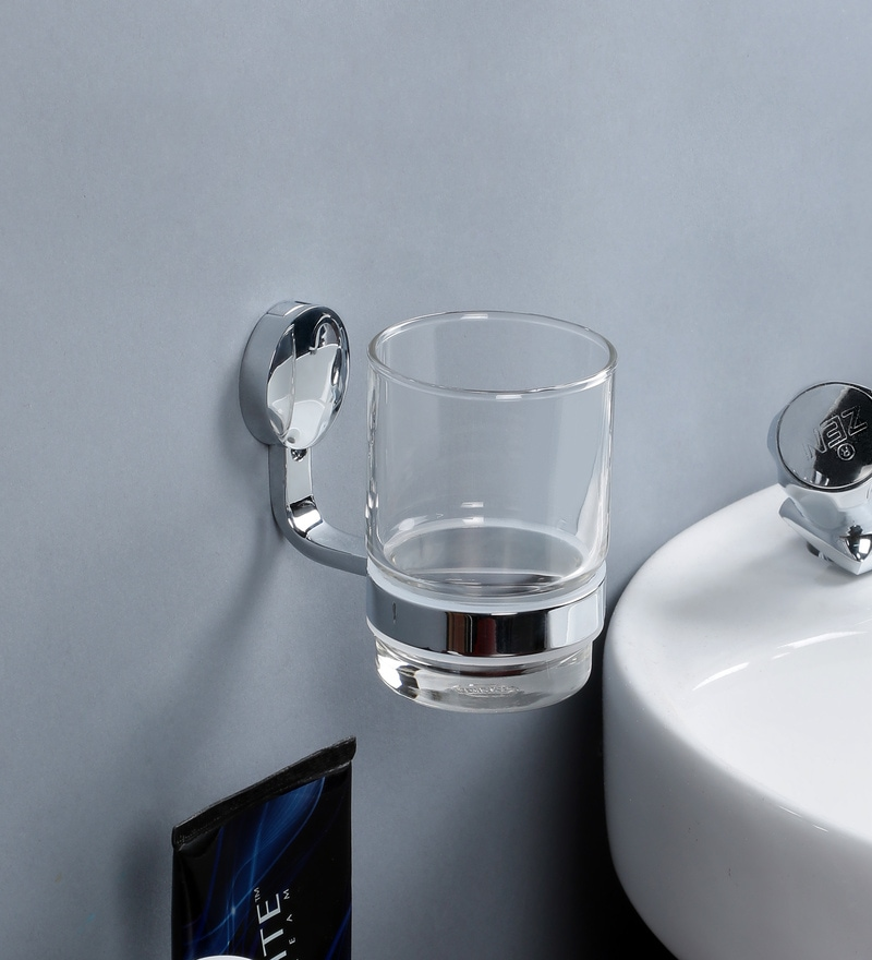 JJ Sanitaryware Silver Brass Tumbler Holder