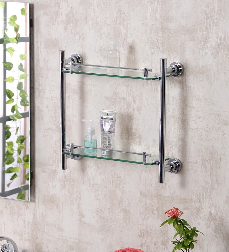JJ Sanitaryware 1507 Metallic Brass Double Glass Shelf