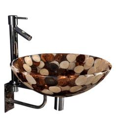 Joyo Cera Brown & Golden Resin Wash Basin With Stand,Extantion Body Pillar Tap & Brass Waste Coupling (Model: Joyo Cera 251)