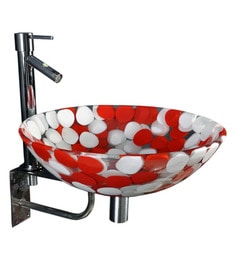 Joyo Cera Red & White Resin Wash Basin With Stand,Extantion Body Pillar Tap & Brass Waste Coupling (Model: Joyo Cera 241)