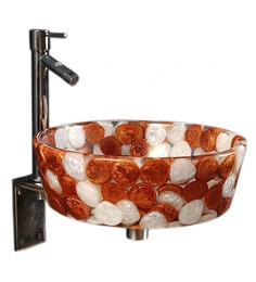 Joyo Cera Resin Designer Copper & White Wash Basin With Stand