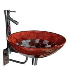 Joyo Cera Resin Designer Copper & White Wash Basin With Stand - 1691269