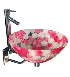 Joyo Cera Resin Designer Pink & White Wash Basin With Stand - 1691247