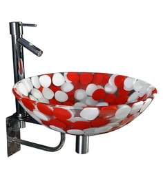 Joyo Cera Resin Designer Red & White Wash Basin With Stand