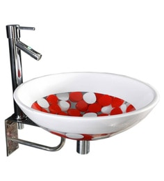 Joyo Cera Resin Designer Red & White Wash Basin With Stand - 1691252