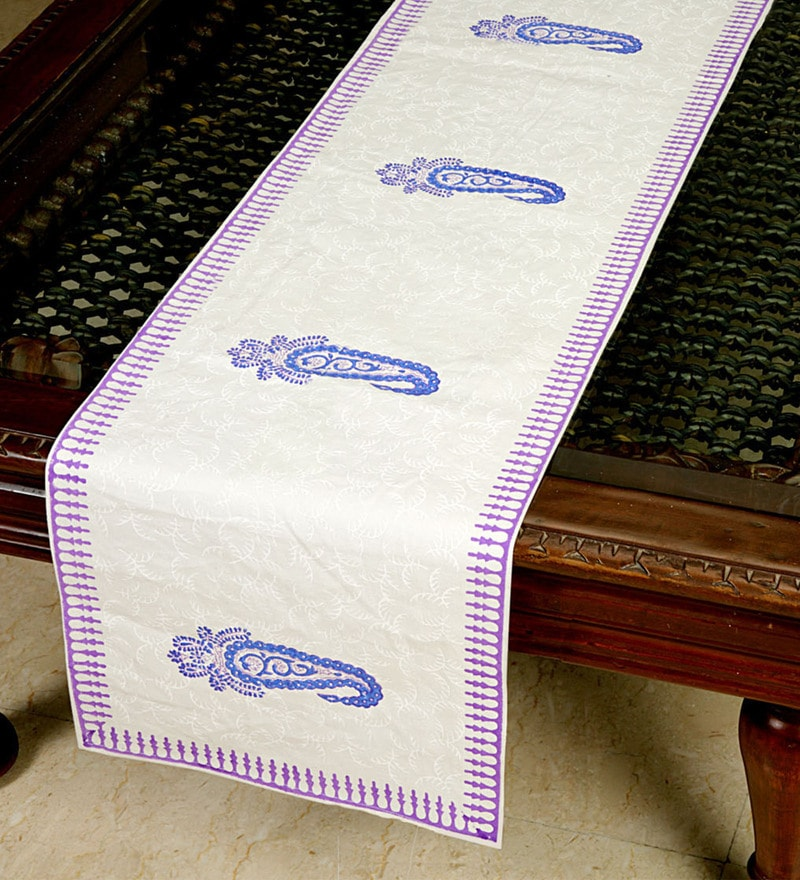Jodhaa Floral And Paisley Multicolour Cotton Table Runner