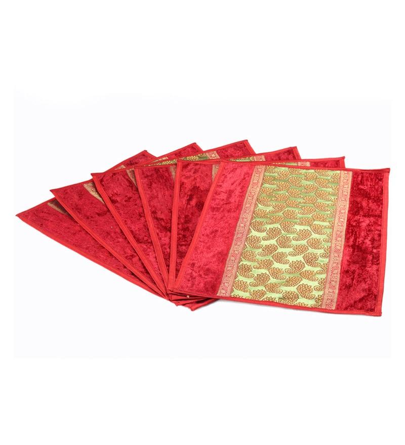Jodhaa Gold & Maroon Velvet & Brocade Placemats - Set of 6