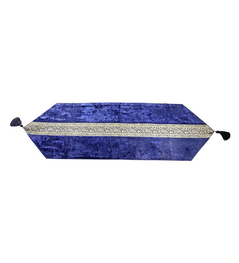 Jodhaa Medium Royal Blue Velvet & Brocade Table Runner