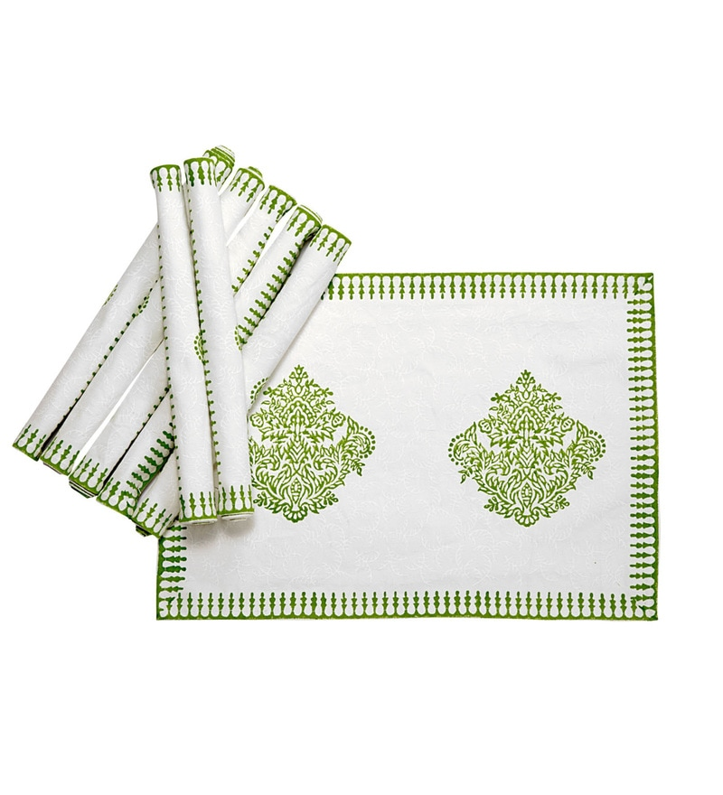 Jodhaa Paisley White & Green Cotton Table Mats - Set Of 8