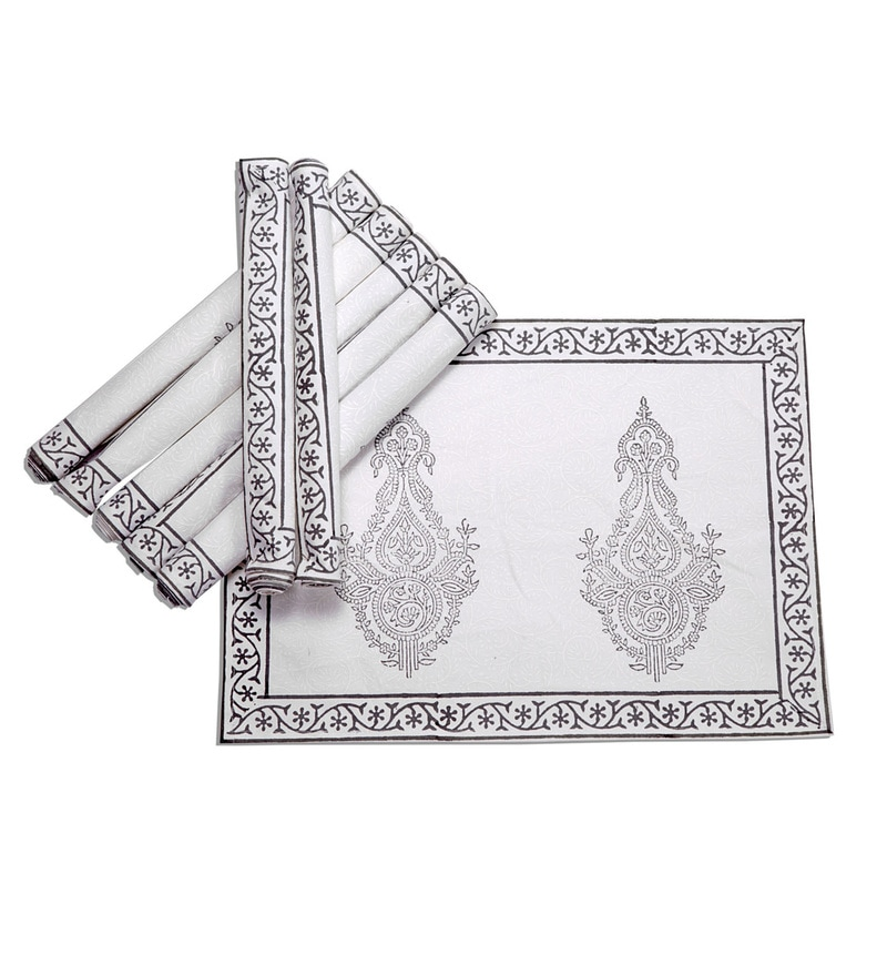 Jodhaa Paisley White & Grey Cotton Table Mats - Set Of 8