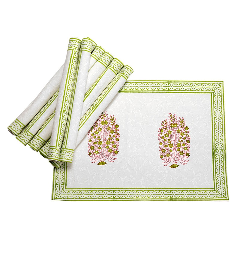 Jodhaa Paisley White And Green Cotton Table Mats - Set Of 8