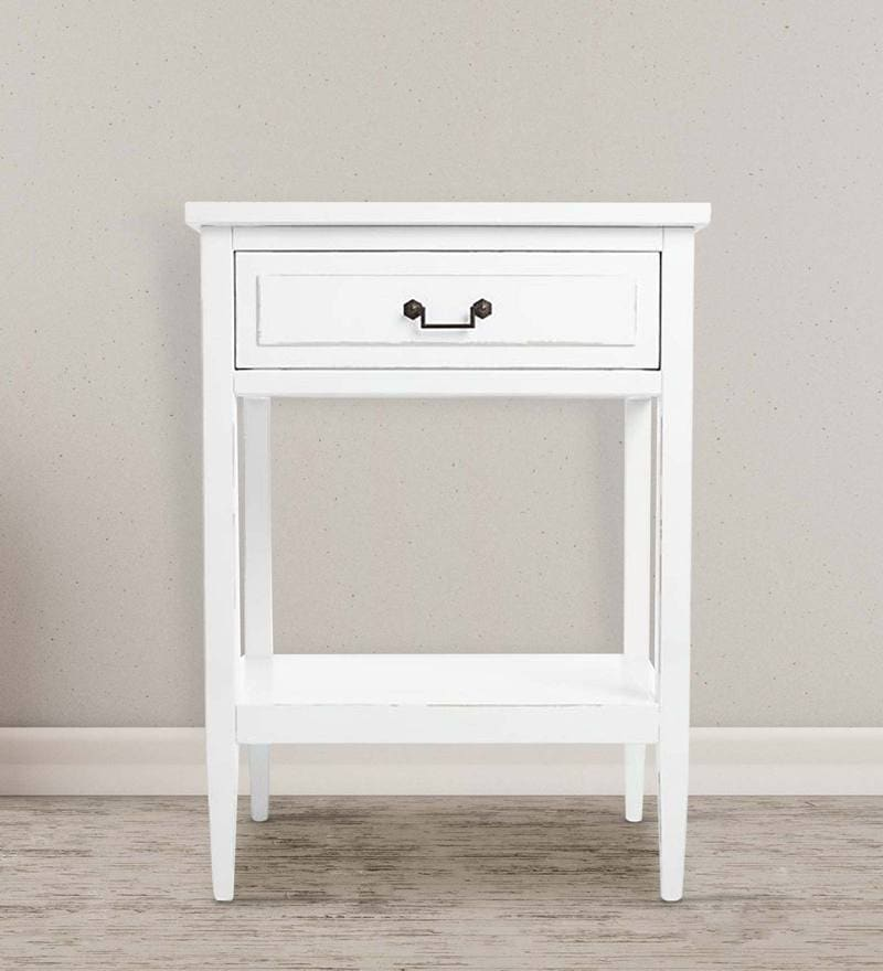 Johnson Series Bedside Table in White Colour by Asian Arts