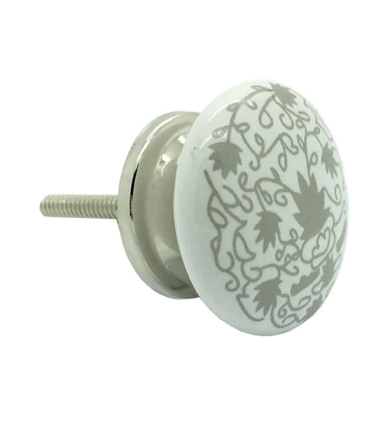 JP Hardware Circular Cream Ceramic 1.5 Inch Door Knob - Set of 4
