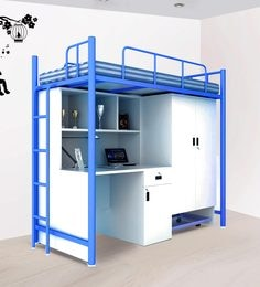Jumbo Bunk Bed With Study Unit & Storage In White & Blue Colour By UNiCOS